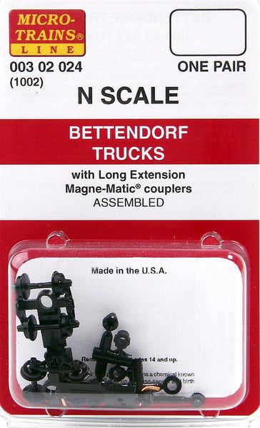 Micro-Trains N Scale Bettendorf Trucks (with long extension couplers) #1002