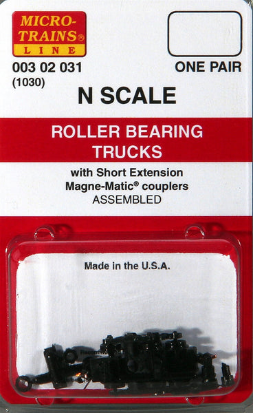 Micro-Trains N Scale Roller Bearing Trucks (with short extension couplers) #1030