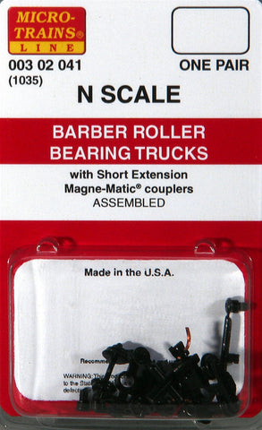Micro-Trains N Scale Barber Roller Bearing Trucks (with short extension couplers) #1035