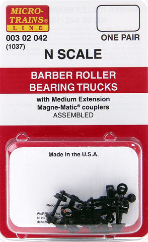 Micro-Trains N Scale Barber Roller Bearing Trucks (with medium extension couplers) #1037
