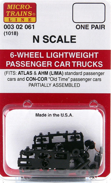 Micro-Trains N Scale 6-Wheel Lightweight Passenger Car Trucks #1018