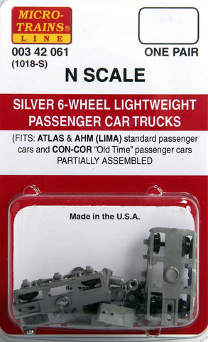Micro-Trains N Scale Silver 6-Wheel Lightweight Passenger Car Trucks #1018-S