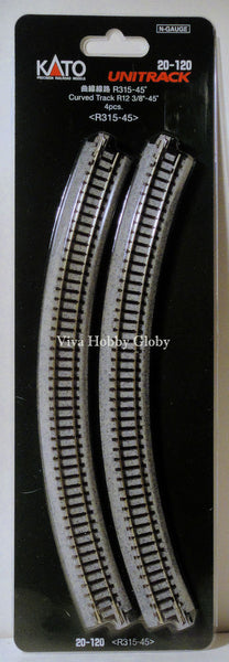 "N Kato Curved Track R12 3/8""-45 Degrees 20-120"