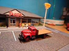 HO Mini Metals White Super Power Factory Red Flatbed Truck