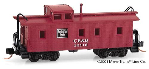 N Micro-Trains Chicago, Burlington & Quincey 34' Wood Sheathed Caboose #CB&Q14116