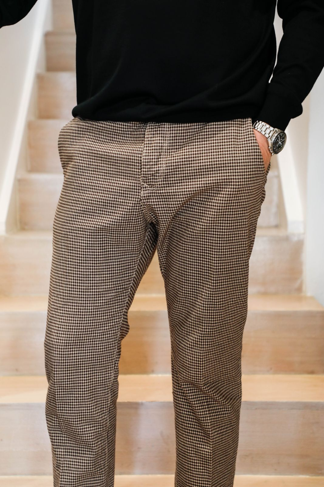 Beige Gingham Check Pant