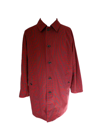 Gingham Reversible Soutien Collar Coat Navy/Red