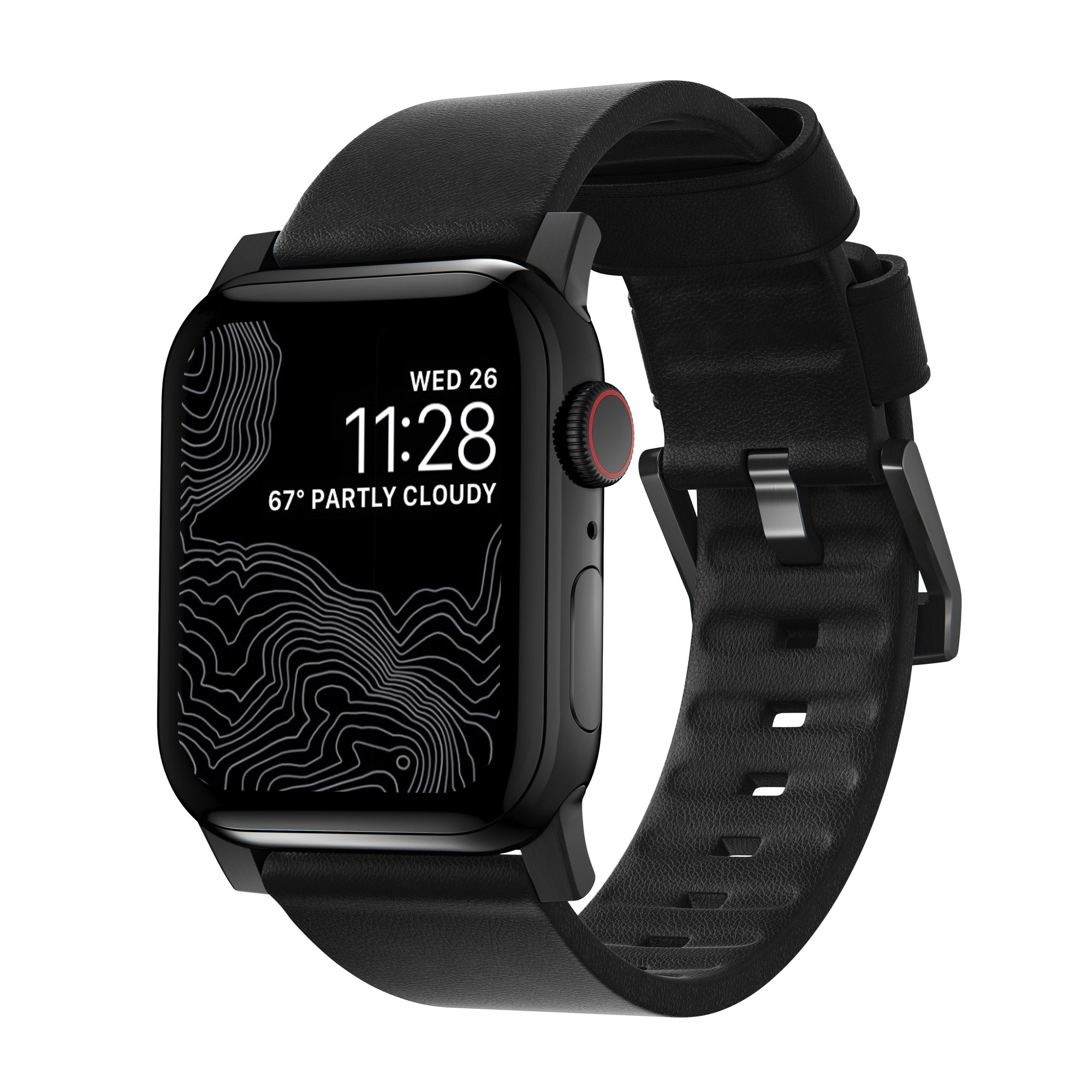 Leather Strap for Apple Watch 42/44mm  Black with Black Hardware