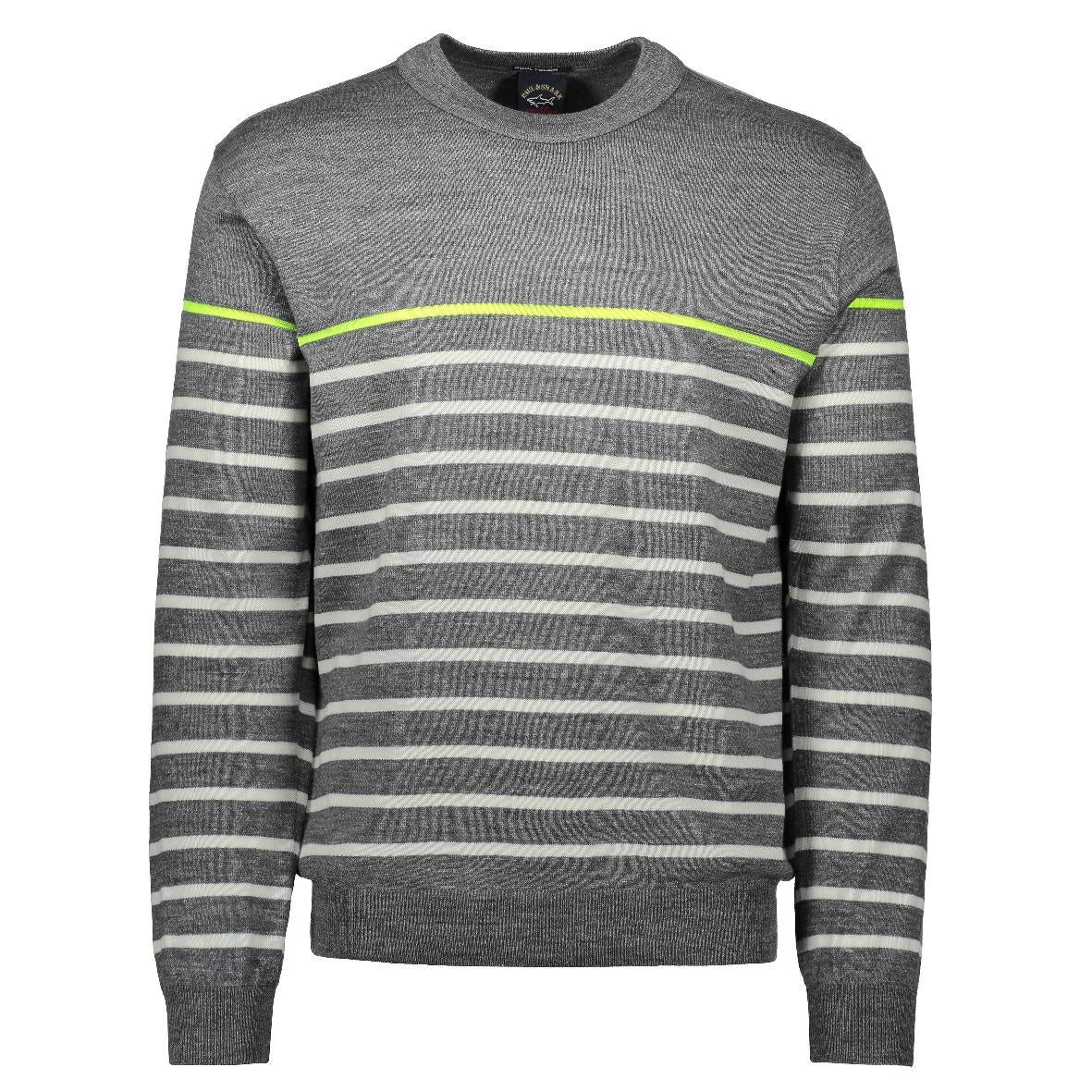 Grey Striped Crew Neck