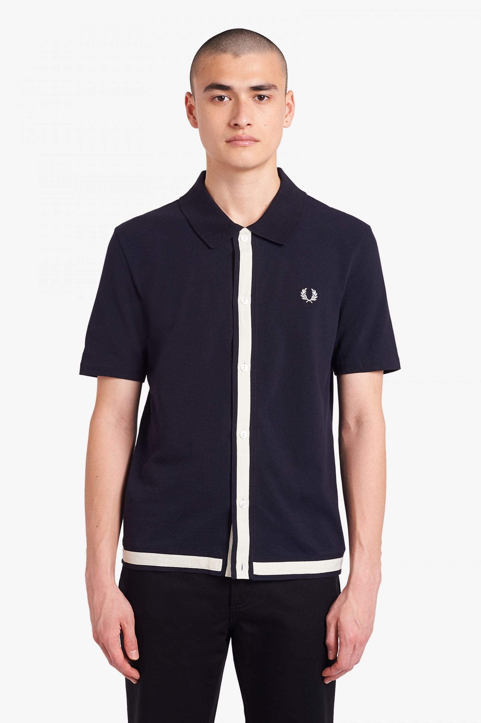 Pique Button Through Shirt Navy