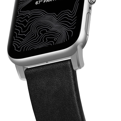 Modern Strap Active Apple Watch 44/42mm Black with Silver Hardware