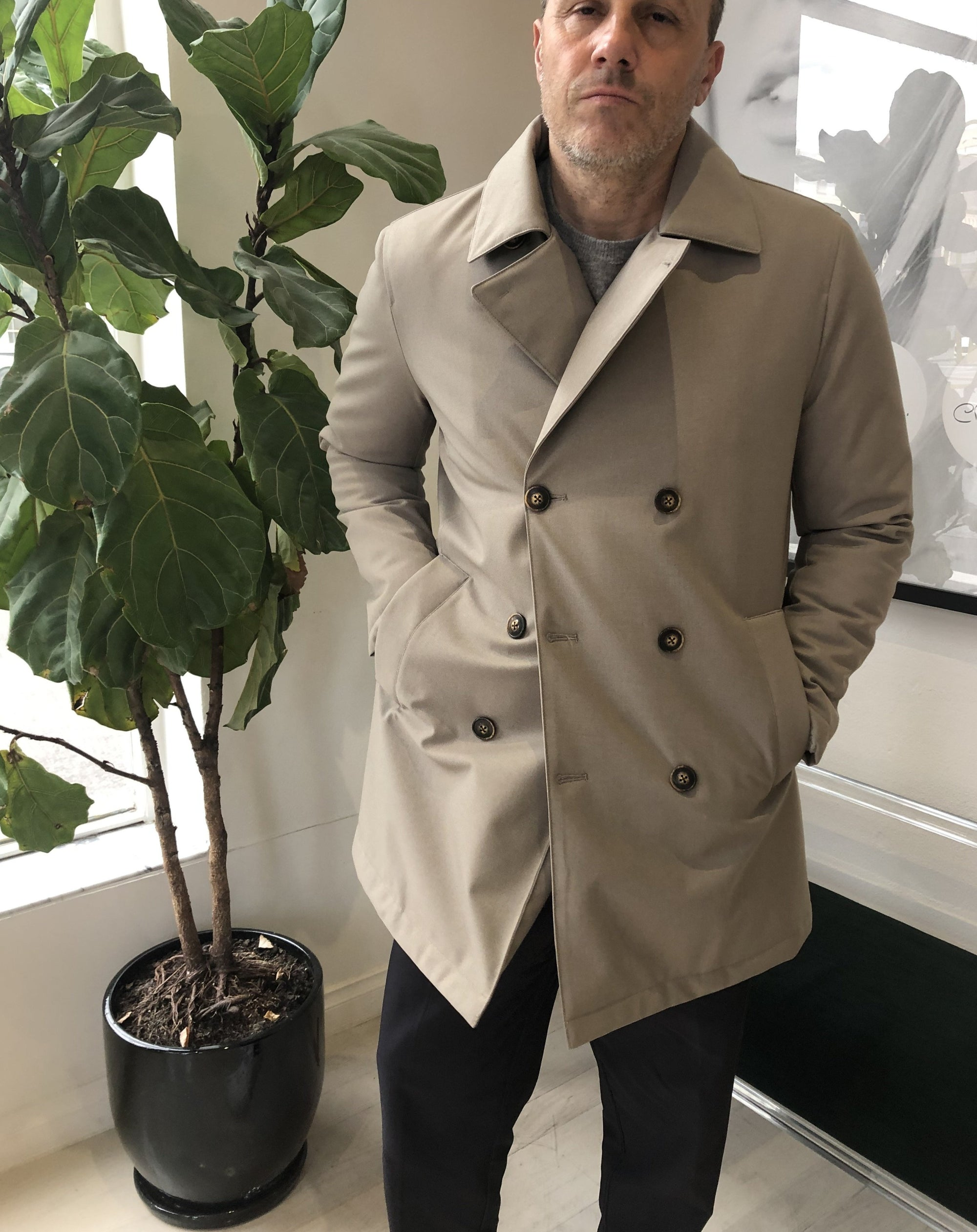 Double Breasted Pea Coat Beige