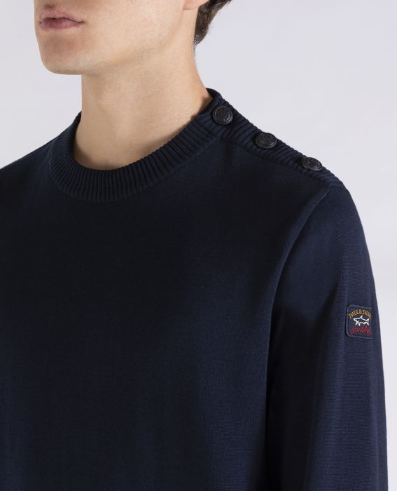 Navy Button Shoulder Crew