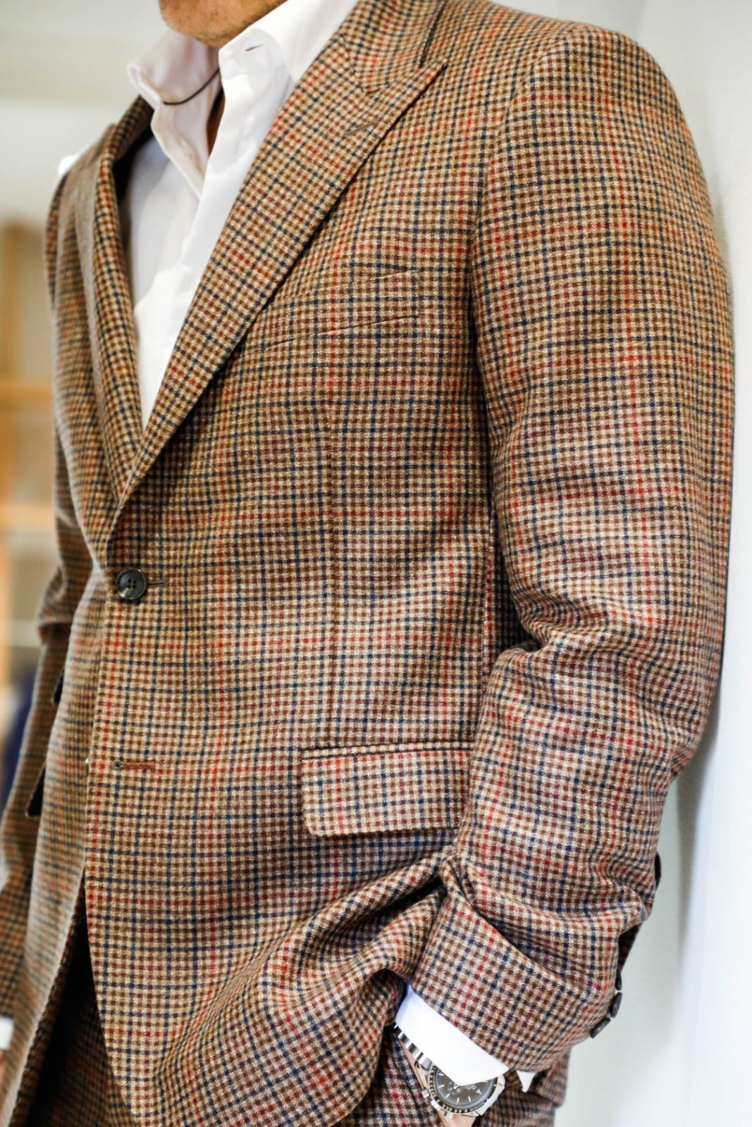 Check 2 Button Peak Lapel Jacket
