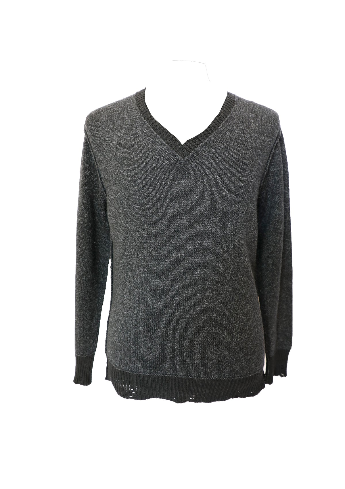 Aius Black V Neck Knit
