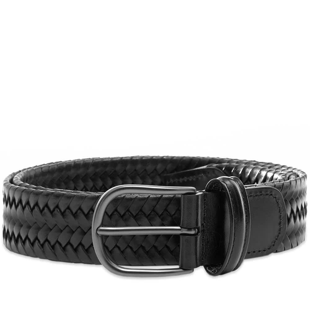 Black Woven Stretch Leather Belt
