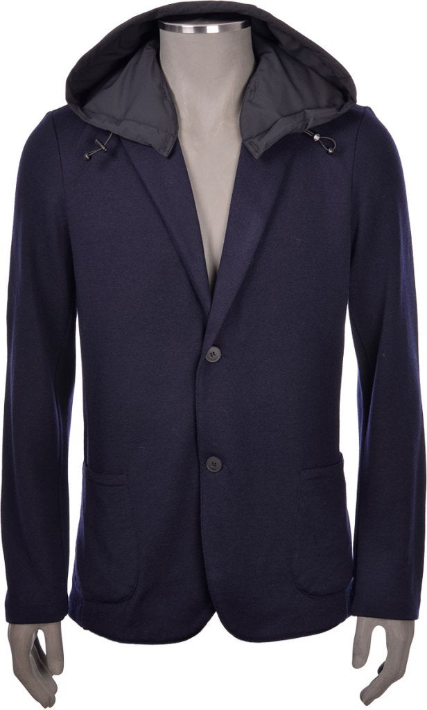 Navy Blue Knitted Blazer with detachable Hood