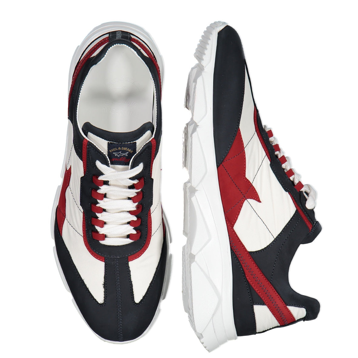 Red Blue and White Sneaker