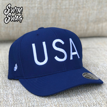 "Load image into Gallery viewer, ""USA"" - Swim Swag USA Hat (Navy Blue)"