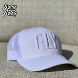 """FLY"" Hat - Butterfly (White on White)"