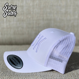 """BACK"" Hat - Backstroke (White on White)"