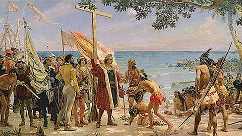 In 1492 Columbus Sailed the Ocean Blue. He also went back in 1494.