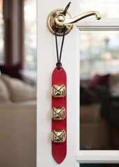 3 gold red leather sleigh bells