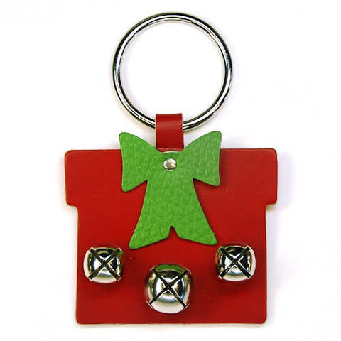 New Jingle Bell Gift Box with Bow Leather Door Knocker Decoration