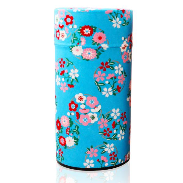 Japanese Washi Canister Blue Flower Wheel