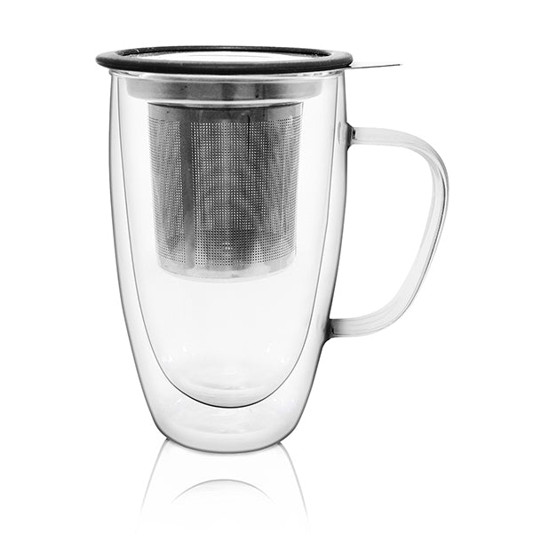 Double Wall Glass Infuser Mug