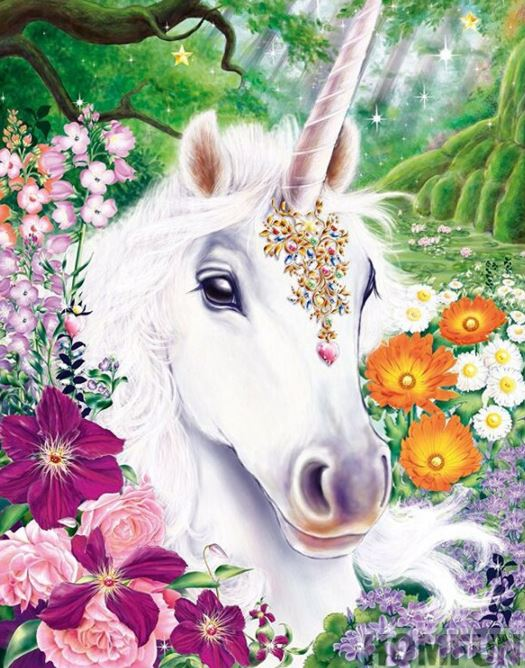 White Unicorn with Flowers Diamond Painting