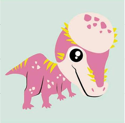Pink Dinosaur Paint by Numbers for KIds