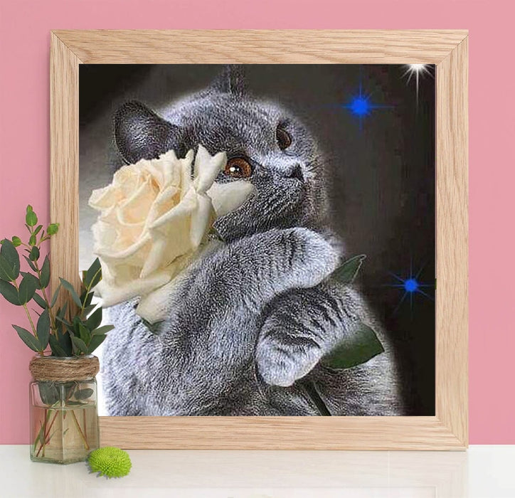 Black Cat with Flower Diamond Painting