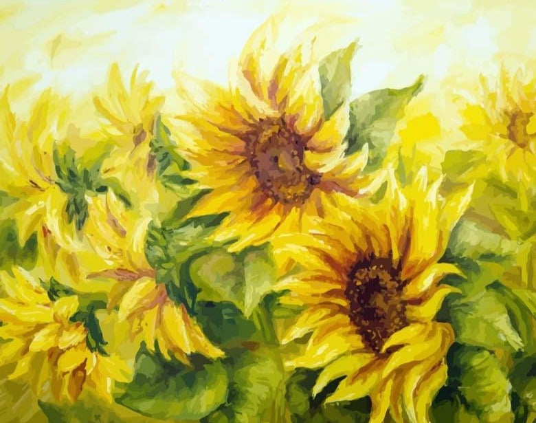 Sunflowers In The Wind Paint By Numbers (4921850527875)