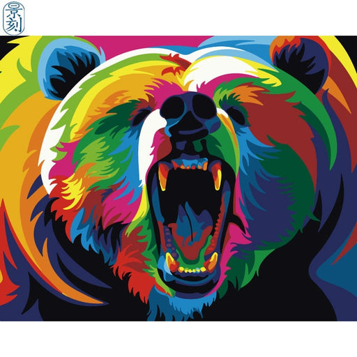 Colorful Roaring Bear Paint By Numbers (4881110499459)