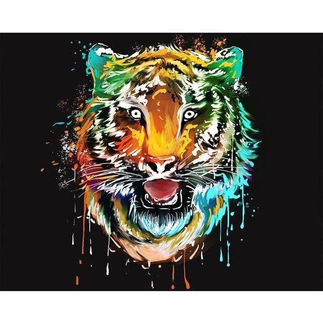 Dripping Tiger Paint By Numbers (4796619948163)