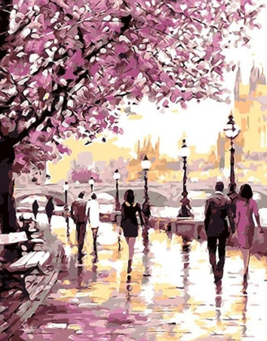 Cherry Blossoms Road Paint By Numbers (4921851445379)
