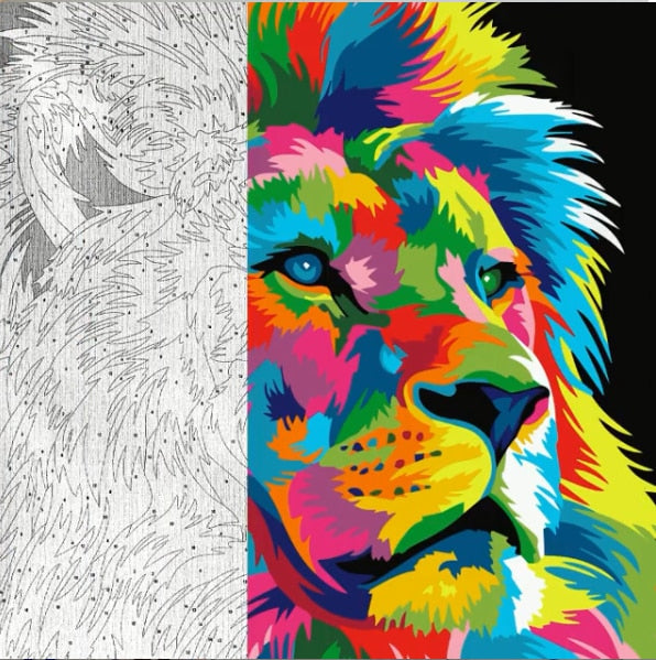 Colorful Lion Paint By Numbers (4729005637763)