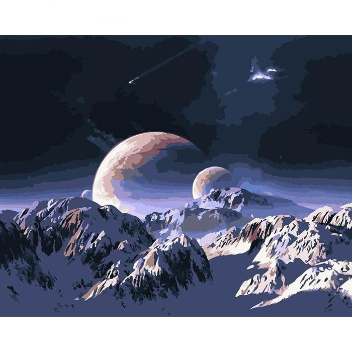 Planet and Snow Mountain Paint By Numbers (4761759613059)