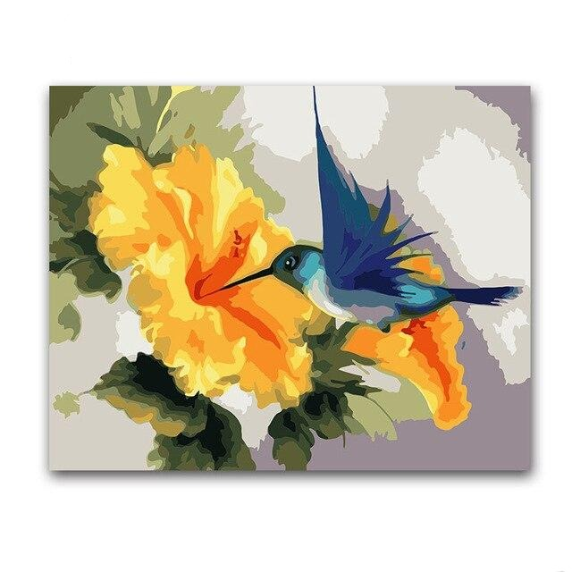 Orange Flower And Bird Paint By Numbers (4796447686787)