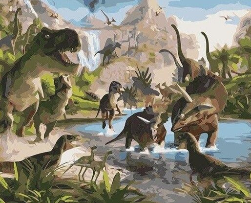 Dinosaurs Bathing Paint By Numbers (4822636429443)