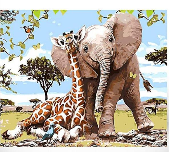 Elephant And Giraffe Paint By Numbers (4828879716483)