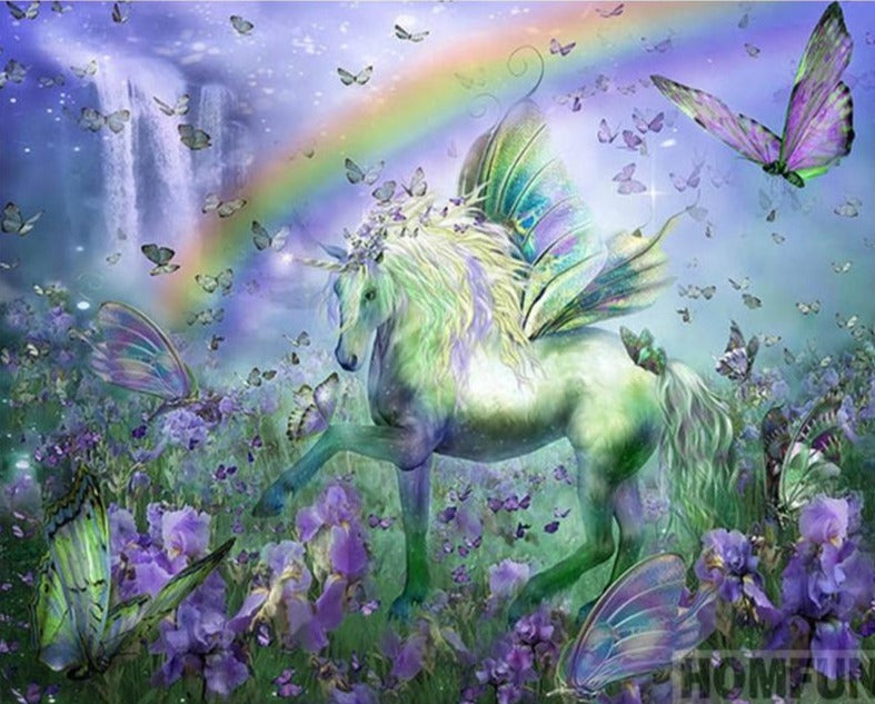 Green Unicorn Diamond Painting