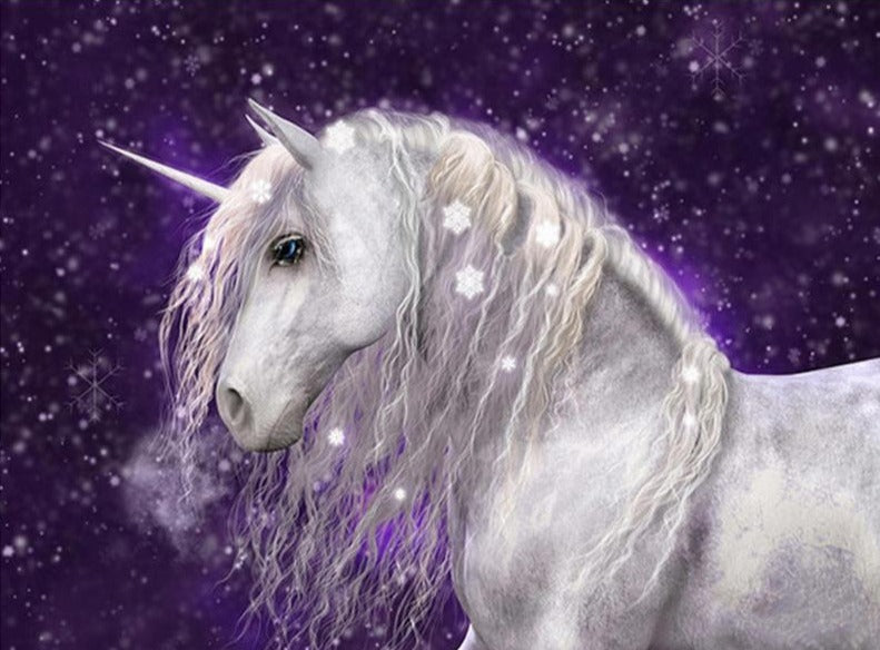 Snowy Unicorn Diamond Painting