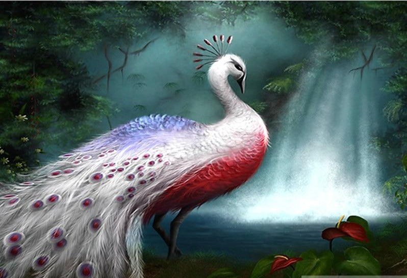White Peacock Diamond Painting
