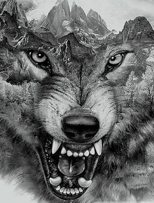 Angry Wolf Diamond Painting