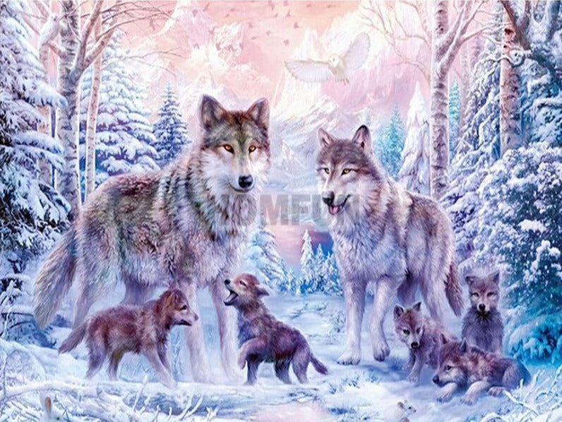 Wolf with Pups Diamond Painting