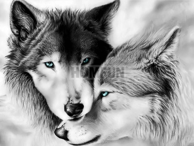 Two Wolf Black/White  Diamond Painting