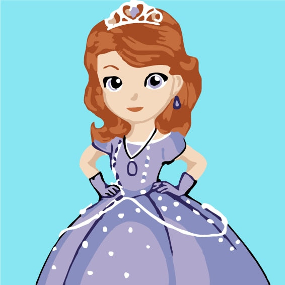 Princess in Dress Paint by Numbers for Kids