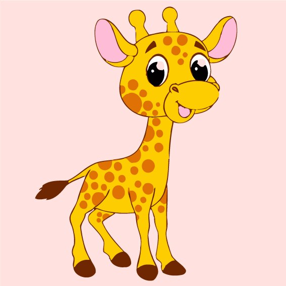Cartoon Giraffe Paint by Numbers for Kids